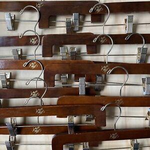 "LORD & TAYLOR Retail 14"" Pant Skirt Shorts Adjustable Wood Hangers Set (12) a"