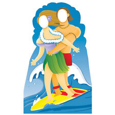 SURFING COUPLE Lifesize STAND-IN CARDBOARD CUTOUT Standin Standup Standee Surfer
