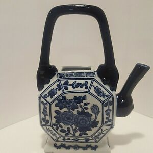 "Porcelain Teapot Shaped Bombay Vase White w Cobalt Blue Asian Floral Design 10"""