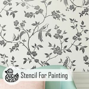 Dizzy Duck Oriental Bird and Tree CHINOISERIE Wall Stencil for Feature Walls