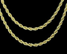 """2pc Choker Set 3mm Rope Chains 18"""" 20"""" 14k Gold Plated Hip Hop Mens Womens"""