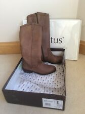 "New Knee High Boots - Brown Tan Leather, Flat 1.5 "" Heel,  UK Size 4"