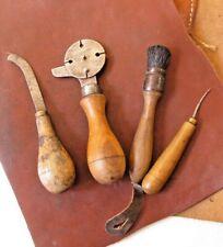 Outils anciens bourrelier cordonnier sellier 4 Antique Shoemaker leather tools
