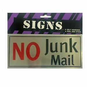No Junk Mail SignPeel and Stick Self Adhesive Front Door Metal Decal Letter Box