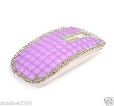 Purple Crystal Rhinestone 2.4G Wireless Slim Flat Optical Mouse Mice