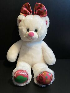 """BUILD A BEAR GIRL SCOUT COOKIE WHITE CREAM TEDDY BEAR W/PINK BOW 16"""" Tall"""
