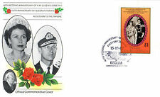 St VINCENT BEQUIA 1987 QUEEN 40th WEDDING ANNIVERSARY $1 FIRST DAY COVER