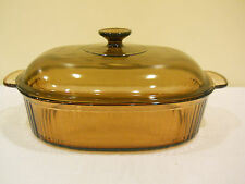 VISIONS WARE COVERED OVAL ROASTER CASSEROLE 4 QT AMBER