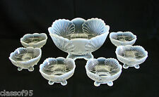 French Opal ~ Beaded Shell - Berry Bowl Set ~ Mosser Reproduction ~ Mint Cond