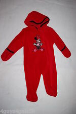 Baby Girls Red Minnie Mouse Snowsuit Lt Weight Fleece Pram Hooded Zip Up 3-6 Mo