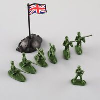 100pcs Military Army Soldiers Plastic Toy Model Men Figures in 12 Poses w/Flags