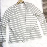 J. Crew Womens Cardigan Striped Always Cascading Gray White Cotton Size XXL New