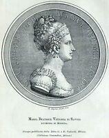 Maria Beatrice di Savoia, Duchessa di Modena. Stampa Antica + Passepartout. 1901