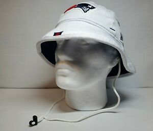 (Brand New Size S-M) NFL New England Patriots White Blue Players Only Bucket Hat