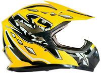 Yellow Youth Motocross Helmet Child Kids DOT UTV ATV MX OffRoad