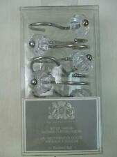 Set 12 Shower Curtain Hooks Silver Metal Hangers w Faceted Clear Acrylic Ball