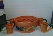 RARE Department 56 Terra Cotta Garden Collection of 4 Mugs and 1 Pot
