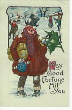 CHRISTMAS - COMIC MAN HIT BY SNOW BALLS ARTIST C K COOK - MISCH & CO 1909 PC