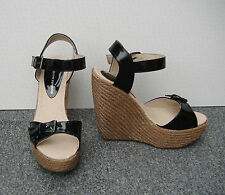 Dorothy Perkins Black Patent Faux Leather Wedge Sandals Size 5
