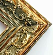 ☆Sale☆ 38 ft - Antique Wide Gold Ornate Picture Frame Molding, Wood, Length