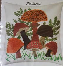 Mushrooms Pillow Kit WonderArt Stitchery 16 in square wool 9132
