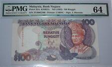 (PL) RM 100 ZV 8002100 JAFFAR HUSSEIN 6TH SERIES, US BANKNOTE PRINTER, PMG 64