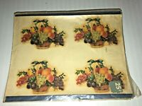 Vintage Meyercord Decals / Decoupage Multiple Colorful Fruit Baskets with Bows
