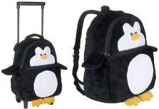"""Backpack 11"""" Penguin Plush Roller Trolley Girl Boy Black White NEW"""