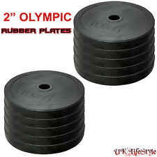 "2"" Rubber Olympic Disc Weights Plates Power Lifting Weightlifting Bar Gym"