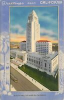 Linen Postcard CA D422 Greetings from California City Hall Los Angeles Art Deco