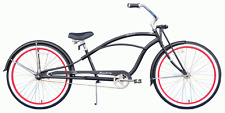 "Firmstrong Urban Deluxe 26"" Stretch Beach Cruiser 36 spokes matte Black/ red rim"