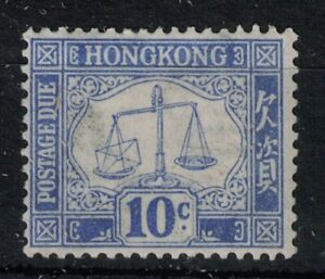 HONG KONG, POSTAGE DUE, KGV, 1923, SGD5, 10c BLUE, MOUNTED MINT.