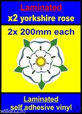 Laminated 2x 200mm Yorkshire Rose decal car Scooter stickers vespa flag