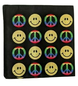 Rainbow peace symbols smiley faces bandana face covering UK seller fast postage