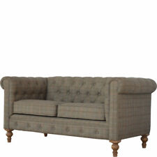 Chesterfield 2 Seater Sofa Tweed / Wood c mango wood hand crafted