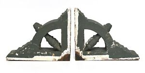 VINTAGE WOOD GREEN CORBEL GABLE BRACKETS SUPPORTS BRACES  ARCHITECTURAL SALVAGE
