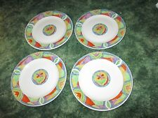 """Lot of 4 Majesticware Oneida Crystal Rose Flower Bread Dessert Plate 7.5"""""""