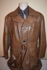 Vtg 70s 80s DeLong Mocha MOD Disco Leather Mid-Length Trench spy Coat jacket 42