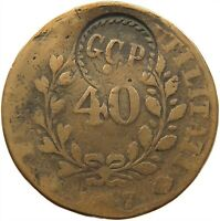 PORTUGAL 40 REIS 1847 COUNTERMARKED GCP #t80 283