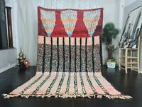 "Vintage Moroccan Boujaad Handmade Rug 6'2""x9'6"" Berber Striped White Red Carpet"