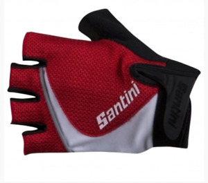 Sum Gel Cycling Gloves - in Red and White - Made in Italy by Santini