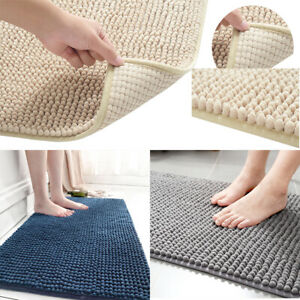Super Soft Microfiber Shaggy Rugs Non Slip Absorbent Bath Mat Bathroom Carpet