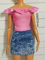 MATTEL PINK OFF SHOULDER DENIM DRESS FASHIONISTAS BARBIE CLOTHES FASHION