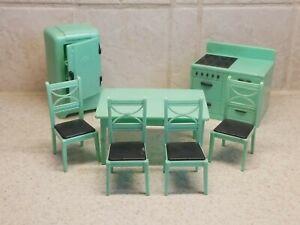 "7 Piece Set Jade Green Renwal 3/4"" Scale Dollhouse Kitchen Furniture"
