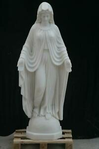 HAND CARVED SOLID MARBLE MOTHER MARY STATUE- NS959