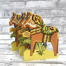 "Scandinavian Swedish Dala Horse Dalahäst 6"" Cut Fold Out Table Mantel Home Decor"
