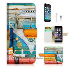 ( For iPhone 7 ) Wallet Case Cover P0074 Van on Beach