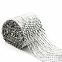2 METRE LENGTH - SILVER DIAMOND DIAMANTE EFFECT RIBBON TRIM CAKE BRIDAL CRAFT