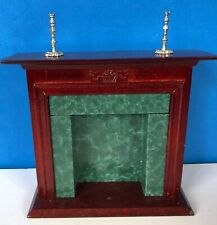Vintage Dollhouse Living Room Green Marble Fireplace Mantle And Candlesticks