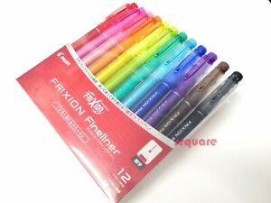 12 Colors Set x Pilot SFFL-144F FriXion Erasable Fineliner Color Pen Drawing Pen